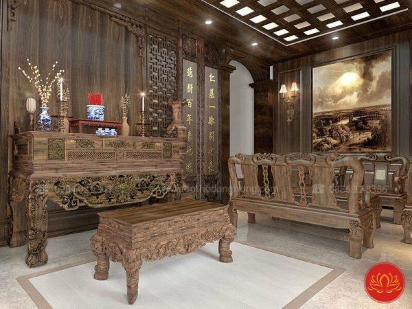 phòng thờ gỗ gụ đẹp