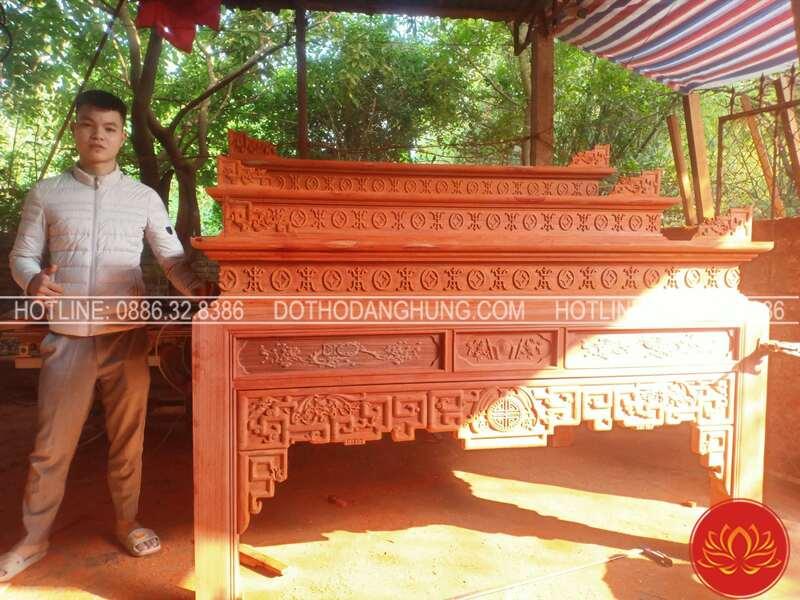 Bàn thờ tam cấp gỗ hương đỏ