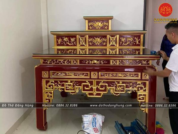 bàn thờ tam cấp sơn son thếp vàng